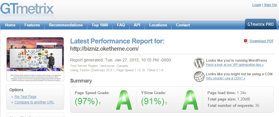 Page Speed Grade 97% (A)   YSlow Grade 91% (A)