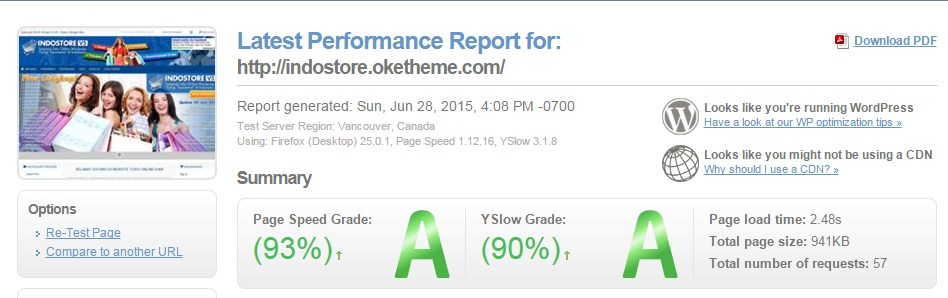 Hasil Test GTMetrix IndoStore V 5.0.1|Page Speed Grade (93%) -YSlow Grade (90%)